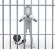 preso 3D encarcelado en célula Foto de archivo libre de regalías