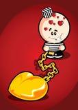 Preso de la tarjeta de la tarjeta del día de San Valentín del amor Imagen de archivo libre de regalías