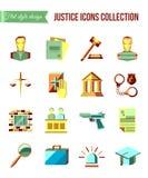 Preso en la barra Sistema de iconos planos de la ley y de la justicia con el abogado, jurado de la corte de la cárcel Fotografía de archivo libre de regalías