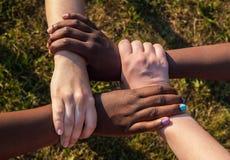 Preso per mano degli amici multirazziali nella cooperazione come gruppo Fotografia Stock