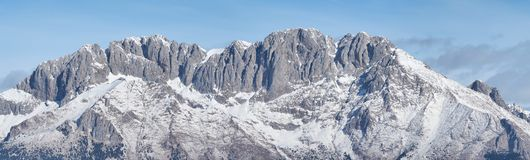 Presolana is a mountain range of the Orobie, Italian Alps. Landscape in winter with snow. Presolana is a mountain range of the Orobie, Italian Alps. Landscape in royalty free stock photos