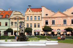 Presov, Slovakia. AUGUST 27, 2012: People visit Old Town in . It is the 3rd largest city of Slovakia with 97,000 inhabitants stock photography