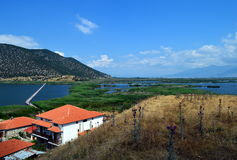 Prespes lakes. View from a hill of Saint Achilleios island in small Prespa Lake, in Greece stock image