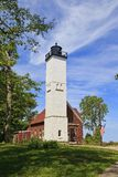 Presque Isle Light in the State Park at Erie, Pennsylvania. Presque Isle Lighthouse was built in 1872, located in Preque Isle State Park on Lake Erie stock photos