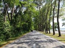 Presque Isle State Park at Erie Pennsylvania. The road that circles the Presque Isle State Park on Lake Erie, Pennsylvania, USA stock photo