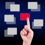 Pressão de mão da criança um botão do écran sensível Fotografia de Stock Royalty Free