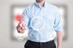 Pressão de mão masculina do empresário em ícones digitais abstratos Imagem de Stock