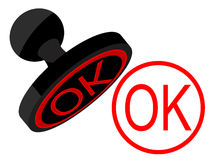 Press. And stamp OK in 媲 on a white background Royalty Free Stock Photo