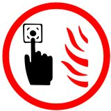 Press the alarm button if you see fire flame illustrated circle Icon road sign isolated on white Background. Press the alarm button if you see fire flame Stock Photo