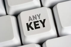 Press Any Key. The missing �Any Key� for computer keyboards Stock Photos