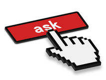 Press Ask Button. 3D Mouse Hand press a button of ask isolated on white background Royalty Free Stock Photography