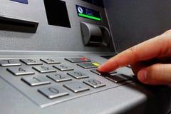 Press ATM EPP keyboard. Close up stock photos