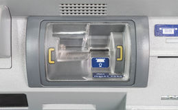 Press ATM insert card. On machine Stock Images