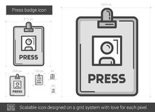 Press badge line icon. Royalty Free Stock Photo