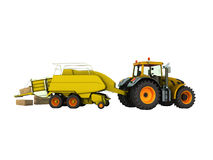 Press baler for hay tractor 3d render on white background no sha. Dow Royalty Free Stock Image