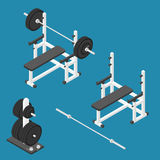 Press bench stand. Isometric gym equipment. Gym workout equipment. Press bench, barbell, weights stand and bar. Vector illustration royalty free illustration