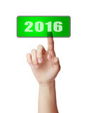 Press button of 2016. Image to use in an optimistic view on year 2016. Can be also used for review of the year 2016 Royalty Free Stock Images