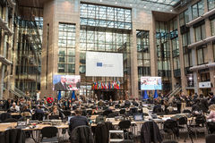 Press center at the informal EU summit in Brussels Royalty Free Stock Photos