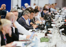 Press center of the NATO summit in Warsaw. WARSAW, POLAND - Jul 9, 2016: North Atlantic Treaty Organization (NATO) summit in Warshaw, Poland. Working moments in stock photos
