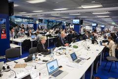 Press center of the NATO summit in Warsaw. WARSAW, POLAND - Jul 9, 2016: North Atlantic Treaty Organization (NATO) summit in Warshaw, Poland. Working moments in stock photo
