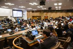 Press Center of 71st session of the United Nations. NEW YORK, USA - Sep 19, 2016: Press Center of 71st session of the United Nations General Assembly in New York stock photography