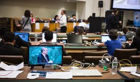 Press Center of 71st session of the United Nations. NEW YORK, USA - Sep 21, 2016: Press Center of 71st session of the United Nations General Assembly in New York stock image