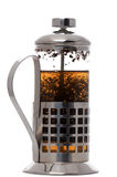 Press coffee maker with tea on white Stock Image