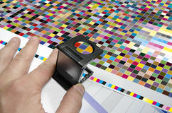 Press color management. cmyk stripe loupe controll Stock Photos
