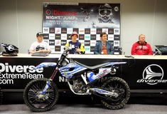 The press-conference announcing world championship in FMX Royalty Free Stock Photography