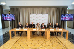 Press conference of artists and organizers of the grand presentation of our time Royalty Free Stock Image