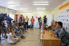 Press conference. ASHULUK TRAINING AREA, ASTRAKHAN REGION, RUSSIA - AUG 07, 2016: Press conference of the judges of the competition Keys to the sky within the stock photo
