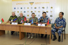 Press conference. ASHULUK TRAINING AREA, ASTRAKHAN REGION, RUSSIA - AUG 07, 2016: Press conference of the judges of the competition Keys to the sky within the royalty free stock photo
