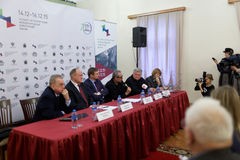 Press conference devoted to the preparations for St. Petersburg International cultural forum Royalty Free Stock Photos