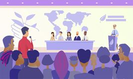 Press Conference on Eco Congress Vector Concept royalty free illustration