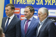 Press-conference of Head coach of National Football team of Ukra Royalty Free Stock Images