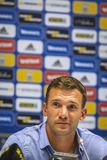 Press-conference of Head Coach of Ukraine National Football Team Royalty Free Stock Images