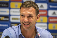 Press-conference of Head Coach of Ukraine National Football Team Stock Photo