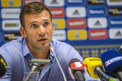 Press-conference of Head Coach of Ukraine National Football Team Stock Images