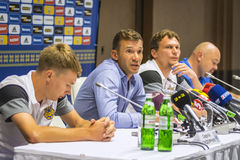 Press-conference of Head Coach of Ukraine National Football Team Royalty Free Stock Photo