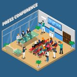 Press Conference Isometric Composition Royalty Free Stock Photos