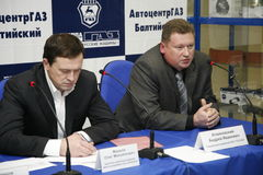 Press-conference for journalists with participation of the management of the Gorky auto plant. Stock Images