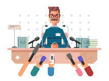 Press conference man. Microphone media, news speech, event politician, vector illustration Stock Photography