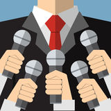 Press conference with media microphones Royalty Free Stock Photography