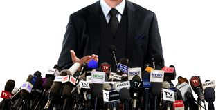 Press conference with the media. Over white Royalty Free Stock Photos