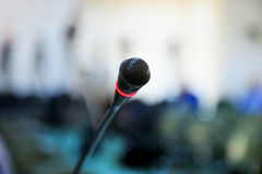 Press conference microphone Royalty Free Stock Photos