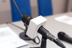 Press conference microphone Royalty Free Stock Image