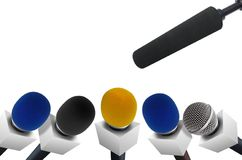 Press conference microphones. Image of microphones during press conference Stock Photos