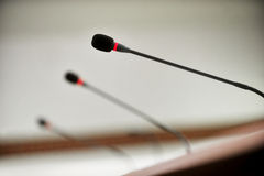 Press conference microphones Royalty Free Stock Images