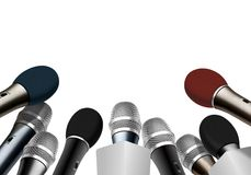 Press conference microphones Royalty Free Stock Photo