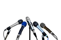 Press Conference Microphones. Over White Royalty Free Stock Image